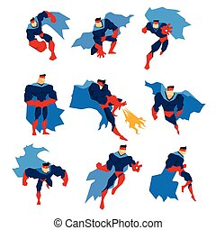 Comics Superhero With Blue Cape In Action Classic Poses...