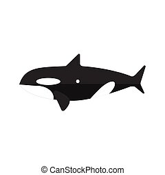 Orca Whale Primitive Style Childish Sticker. Marine Animal...