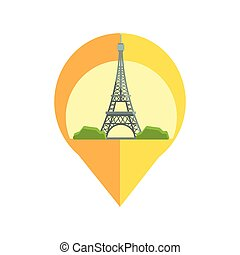 On-line Map Marker With Eifel Tower. Smartphone App Classic...
