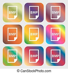 BMP Icon . Nine buttons with bright gradients for beautiful...