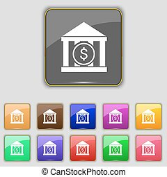 bank vector icon sign. Set with eleven colored buttons for...
