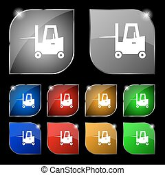 Forklift icon sign. Set of ten colorful buttons with glare....