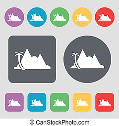 Mirage icon sign. A set of 12 colored buttons. Flat design....