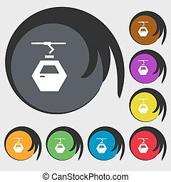 Cableway cabin icon sign. Symbols on eight colored buttons....