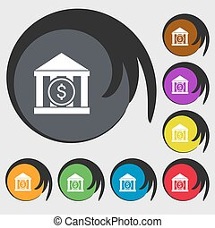 bank vector icon sign. Symbols on eight colored buttons....