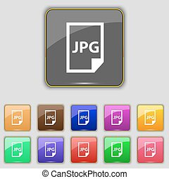 Jpg file icon sign. Set with eleven colored buttons for your...
