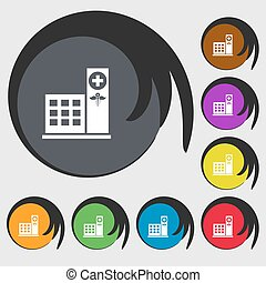 Hospital icon sign. Symbols on eight colored buttons. Vector...