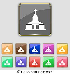 Church Icon sign. Set with eleven colored buttons for your...
