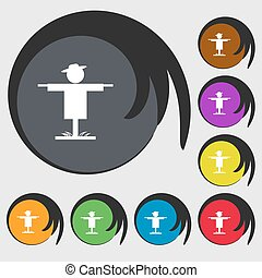 Scarecrow icon sign. Symbols on eight colored buttons. Vector