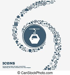 Cableway cabin icon in the center. Around the many beautiful symbols twisted in a spiral. You can use each separately for your design. Vector