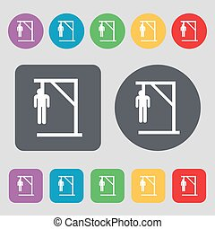 Suicide concept icon sign. A set of 12 colored buttons. Flat...