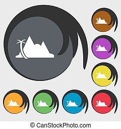 Mirage icon sign. Symbols on eight colored buttons. Vector...