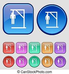 Suicide concept icon sign. A set of twelve vintage buttons...