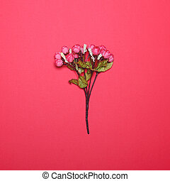 Flowers against bright red background - Minimal concept