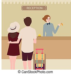 hotel reception girl couple travel check-in front desk -...