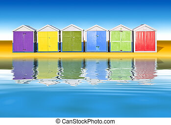 beach huts - An image of colorful little beach huts