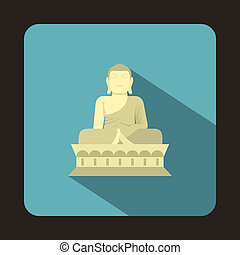 Sitting Buddha, South Korea icon, flat style - icon in flat...