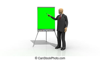 3d man presenting with a green screen in backgoround