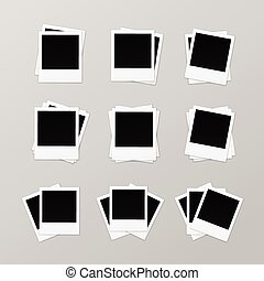 Set of Blank Retro Photo Frames on Background - Vector Set...