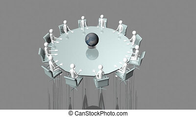3d-men sitting at table - Computer animation showing a group...