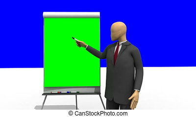 3d-man giving a presentation - Animation showing 3d man...