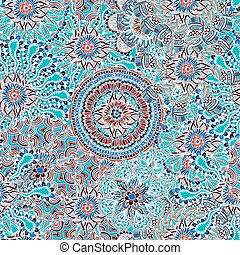 Seamless Colored Ornate Pattern - Vector Seamless Colored...