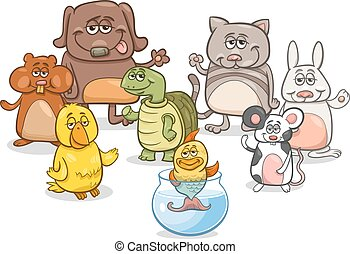 cartoon pet characters group