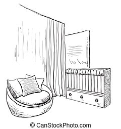 Hand drawn childrens room. Furniture sketch.