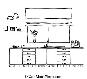 Hand drawn kitchen furniture. - Hand drawn kitchen furniture...