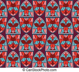 Vector Seamless Pattern with Stained Glass Windows -...