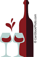 wine bottle and clink glasses with red wine splash