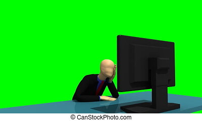 3d-man looking at a desktop - Animated graphics showing a...