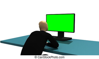 3d-man against white background - Animation presenting...