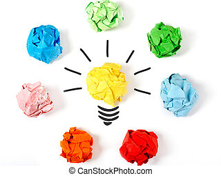 Choose the best ideea - Paper ball forming a lightbulb,...