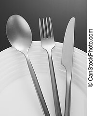 Fork, spoon, knife and plate