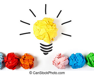 Lightbulb representing a good ideea - Paper ball forming a...