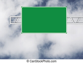 Blank road sign over cloudy sky