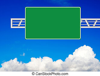 Blank road sign over blue sky