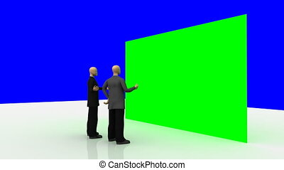 3d-men looking at a green wall