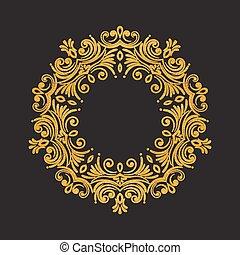 Elegant luxury vintage round gold floral frame