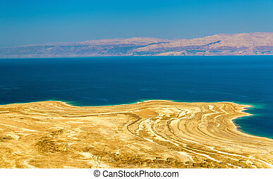 View of Dead Sea coastline in Israel, the Middle East