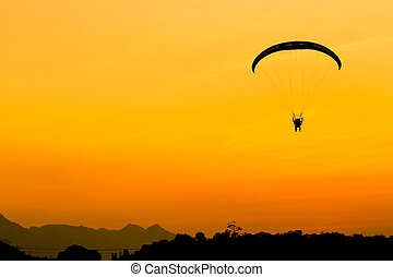 paramotor, voando, céu, laranja, Planador, crepúsculo