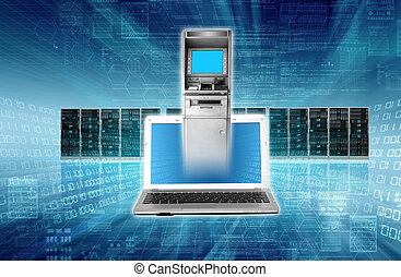 Online Banking Concept with auto teller machine on laptop