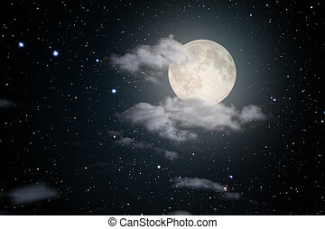 Starry full moon night sky with some clouds. Used part of a...