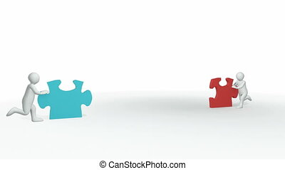 3d-couple with a puzzle - Animation representing 3d-couple...