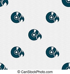 CD icon sign. Seamless pattern with geometric texture....
