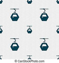 Cableway cabin icon sign. Seamless pattern with geometric...