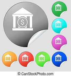 bank vector icon sign. Set of eight multi colored round...
