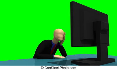 3d-man with a desktop - Animation showing a glowing 3d-man...