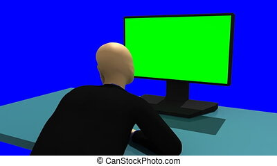 3d-man sitting in front of a screen - Animation showing a...